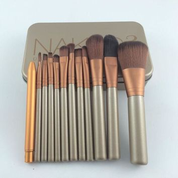 ICIKHY9 12pcs/set Power Brush Makeup Brushes Professional Make Up Brush kit Maquiagem Beauty eye Face Tool Metal Box