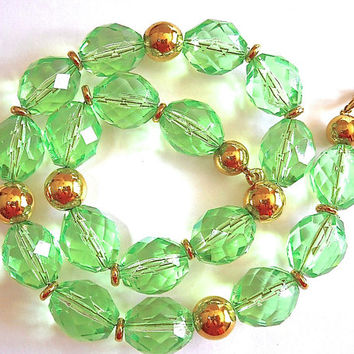 Clear Green Lucite NAPIER Necklace, Faceted Beads, Chunky Vintage '80's