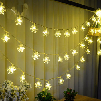 Christmas Tree Snowflake Bulbs Lights 2.5M 20Led 4M 40Led Fairy Light Xmas Party Wedding Garden Garland Christmas Decorations