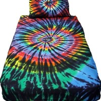 Stained Glass Spiral Tie Dye Sheet Set - Queen