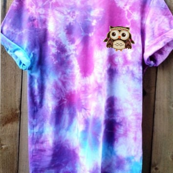 TIE DYE  Teen Hipster Unisex OWL design Popular demand