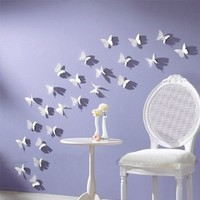 12pcs 3D Butterfly Wall Stickers Decor Art Decorations White M