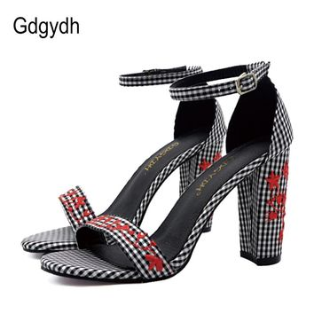 Gdgydh Fashion Floral Woman Summer Sandals High Heels Black Blue Cover Heel Fabric Women's Shoes 2018 New Summer Good Quality