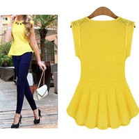 New Hot Women's Lace Peplum Frill Bodycon Tank Tops Blouse shirt