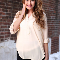 All Business Blouse - Taupe