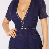Set My Eyes On You Lace Romper - Navy
