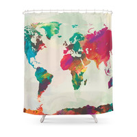 Society6 Watercolor World Map Shower Curtain