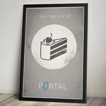 Portal Inspired Vintage Poster - The Cake Is A Lie