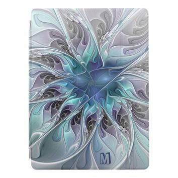 Abstract Modern Fractal Flower With Blue Monogram iPad Pro Cover