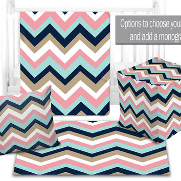 BABY NURSERY DECOR, Chevron Baby Blanket, Ottoman Pouf, Zipper Throw Pillow, Baby Monogram, Matching Nursery Bedding, Nursery Rug