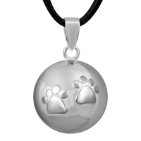 1PC SILVER ANIMAL FEET CUTE WISHING BALL CHIME BABY angel sound MUSICAL chime ball angel caller 20mm ball bijoux chime bola ball
