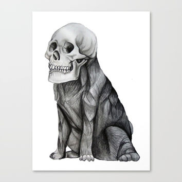 skullpug // A brutal pug wearing a human skull made in pencil Canvas Print by Camila Quintana S