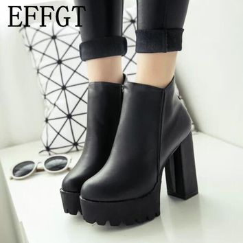 EFFGT 2017 Sexy Ultra High Heels Shoes Woman Female Round Toe Martin Boots Thick Heel Platform Women Shoes Ankle Boots N225