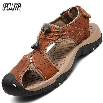 Hot Sale New Fashion Summer Leisure Beach Men Shoes High Quality Leather Sandals The Big Yards Men's Sandals Size 38-47