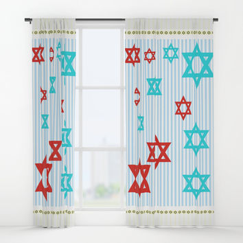 starsofdavid Window Curtains by Kathead Tarot/David Rivera