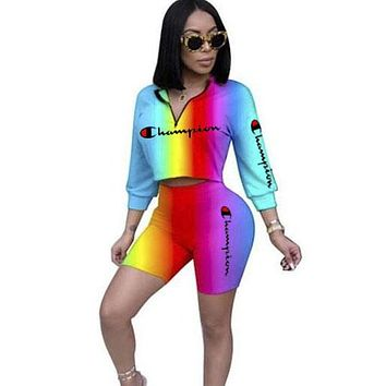Champion Fashion New Letter Print Gradient Multicolor Personality Leisure Sports Two Piece Suit Long Sleeve Top And Shorts