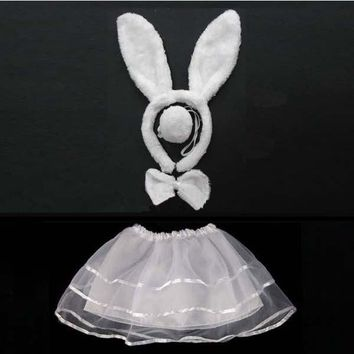 Kids Girls Bunny Rabbit Cat Ears Animal Headband Bow Tie Tail   Cosplay Costume  Hair  Skirt Christmas Halloween Navidad