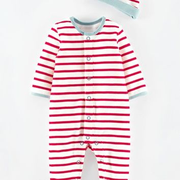 Infant Girl's Mini Boden Velour Footie & Hat