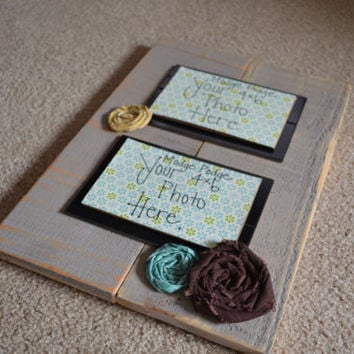 Fabric Flower Picture Frame display  2- 4x6 photos ... Modge Podge Ready or Glassed Front