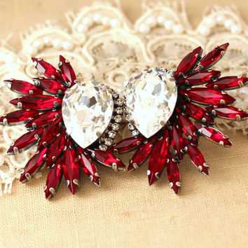 Ruby Red Statement Swarovski earrings, Statement earrings, Red Ruby chandelier earrings, Bridal Crystal earrings, Red Swarovski earrings.