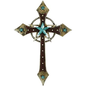 Pine Ridge Western Leather Look Christian Family Wall Hanging Cross Home Decor - Catholic Wall Art With Turquoise Star and Golden Rope Centerpiece - Decorative Rustic Confirmation Holy Cross Gifts
