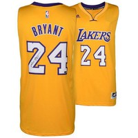 autographed los angeles lakers kobe bryant panini authentic adidas swingman yellow jersey panini  number 1