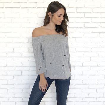 Distress Strapless Grey Top