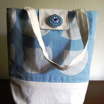 SALE tote bag, hand bag, shoulder bag, purse, blue and cream waves, sea design with an embroidered button.