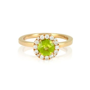 Forzieri Designer Rings 0.22 ct Diamond Pave 18K Gold Ring w/Green Peridot