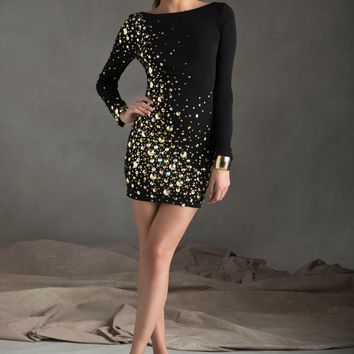 Sticks & Stones Mori Lee 9249 - Black/Gold Beaded Long Sleeve Homecoming Dresses Online
