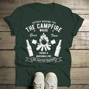 Men's Funny Campfire T Shirt Gather Around Graphic Tee Marshmallows Friends Get Toasted Beer Shirts