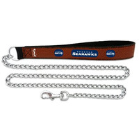 NFL Seattle Seahawks Football Leather 2.5mm Chain Leash, Medium