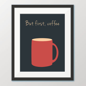But First Coffee Print - Printable Wall Art - Kitchen Wall Art Poster - Digital Download - Printable Kitchen Quote - Graphic Design