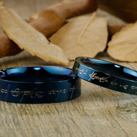 Handmade Blue Flat shape Custom Your words in Elvish, Lord of the Rings,  Matching Wedding Bands, Couple Rings Set, Titanium Rings Set, Anniversary Rings Set