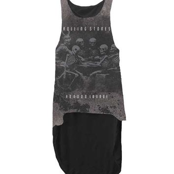 THE ROLLING STONES- SKELETON VOODOO LOUNGE SUBLIMATED JUNIORS HI-LO TANK, SLEEVELESS TANK WITH ASYMMETRICAL HEMLINE. WEAR WITH BANDEAU TOP AND DENIM CUT OFF.