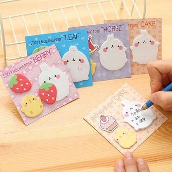 DCCKL72 Kawaii Cute Planner Korean Rabbit Animal Sticky Notes Sicker Pad Flake Sticker School Supplies Student kids Classic Sticker Toys