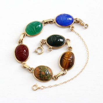 Vintage 12k Yellow Gold Filled Scarab Bracelet - Retro 1950s Carved Tiger's Eye, Carnelian, Bloodstone, Egyptian Revival Beetle Jewelry