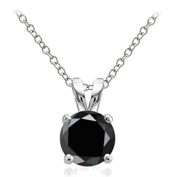 925 Sterling Silver 2ct Black Cubic Zirconia 8mm Round Solitaire Necklace