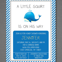 Little Squirt Baby Shower Invitation, Boy Baby Shower, Whale Baby Shower, Blue Baby Shower Invitation, Printable Invitation 5x7""