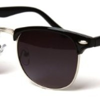 Classic Iconic Style Half Frame Horn Rimmed Sunglasses (Black-Gold Lavender)