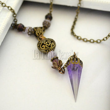 Purple Pendulum Necklace – Witchcraft Necklace, Spike Necklace, Fantasy Magical Pendant, Resin Jewelry, Amethyst Beaded Necklace Cosplay,