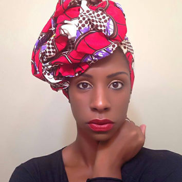 Red African headwrap - Ankara turban - red african Head wrap - African print turban - Wax print headwrap - tribal turban