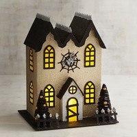 Light-Up Gold Glittered Spider House