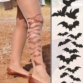 BATS -sheer tights - size S / M / L / XL full length tattoo leggings -Colors : Nude,Vanilla and Mocha.