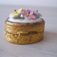 Small Brass Pill Box Porcelain Flower Lid - Brass Trinket Box - Brass Solid Perfume Compact - Porcelain Flowers