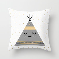 Little Tipi Throw Pillow by Elisabeth Fredriksson