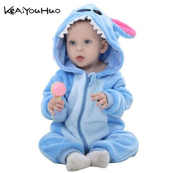 New Born Boys hello kitty Toddler Children Rompers Baby Girls Clothes Warm Winter Animal Pajamas roupas de bebe recem nascido