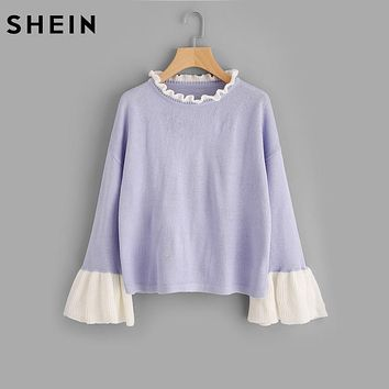 SHEIN Contrast Ruffle Neck and Bell Cuff Jumper Women Sweaters and Pullovers 2017 Autumn Color Block Flare Sleeve Sweater