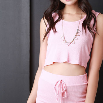 Thermal Knit Hooded Crop Top