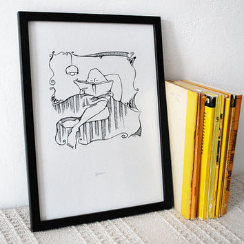 Ink pen drawing of a girl reading. Black and white art print. Minimalist book geek graphic art.